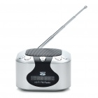 "Mini Rechargeable 1.2"" LCD MP3 Music Speaker Player with FM/USB/AUX In/TF Slot - Silver"