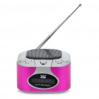 "Mini Rechargeable 1.2"" LCD MP3 Music Speaker Player with FM/USB/AUX In/TF Slot - Silver + Magenta"