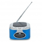 "Mini Rechargeable 1.2"" LCD MP3 Music Speaker Player with FM/USB/AUX In/TF Slot - Silver + Blue"