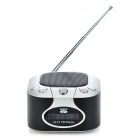 "Mini Rechargeable 1.2"" LCD MP3 Music Speaker Player with FM/USB/AUX In/TF Slot - Silver + Black"