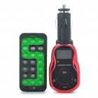 "1.0"" LCD Car MP3 Player FM Transmitter with Remote Controller - Black + Red (USB/SD/TF)"