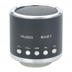 Mini Rechargeable MP3 Music Speaker Player with FM/USB/TF Slot - Black