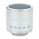 Mini Rechargeable MP3 Music Speaker Player with FM/USB/TF Slot - Silver