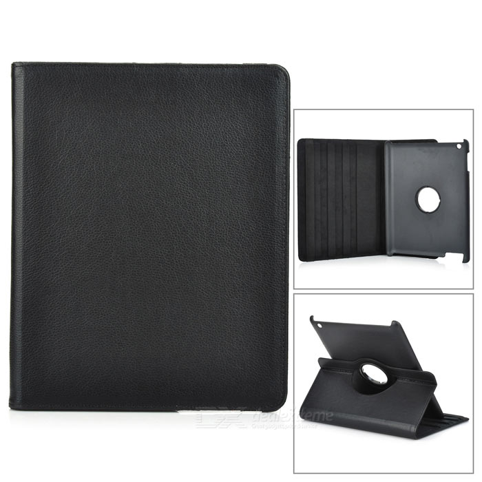 Protective 360 Degree Rotation Holder PU Leather Case for Ipad 2 - Black protective pu leather 360 degree rotation case for ipad 2 3 4 blue