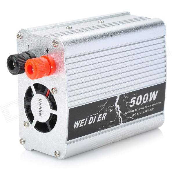 Magnesium Alloy 500W Car DC12V to AC220V Power Inverter with USB Port - Silver solar power on grid tie mini 300w inverter with mppt funciton dc 10 8 30v input to ac output no extra shipping fee