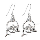 Glamorous Crystal Dolphin Leap 925 Silver Earrings