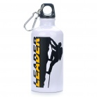 Stylish Aluminum Sporty Water Bottle w/ Carabiner - White (500ml)