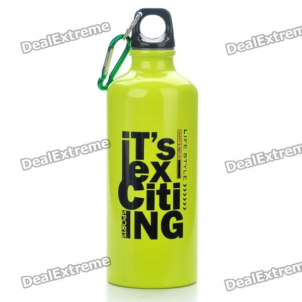 Stylish Aluminum Sporty Water Bottle w/ Carabiner - Green (600ml)