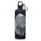 Stylish Aluminum Sporty Water Bottle w/ Carabiner - Black (750ml)