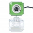 Drive-free USB CMOS 300K Pixel Webcam w/ Clip - Green + White