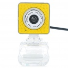 Drive-free USB CMOS 300K Pixel Webcam w/ Microphone & Clip - Yellow + White