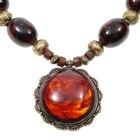 Glamorous Antique Amber Style Beaded Toggle Necklace