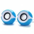 Stylish 2x3W USB Powered MP3 Music Speaker - Blue (60CM Cable)