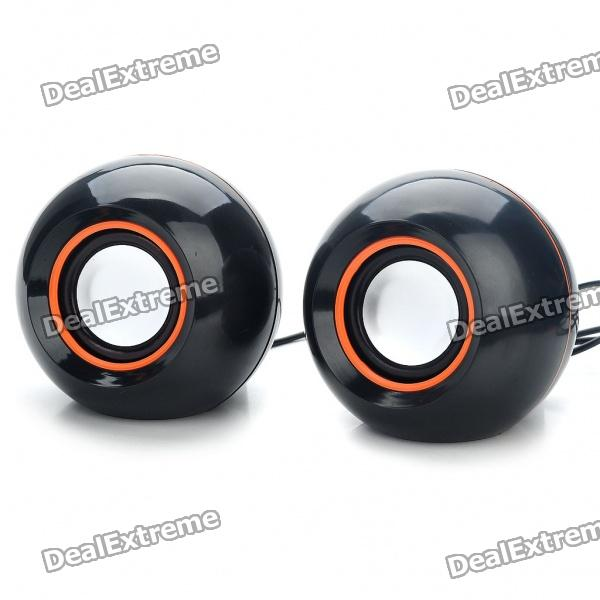 Stylish 2x3W USB Powered MP3 Music Speaker - Black (60CM Cable)