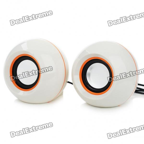Stylish 2x3W USB Powered MP3 Music Speaker - White (60CM Cable)