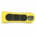 "3-LED White Flashlight + 0.7"" LCD Rechargeable MP3 Music Speaker with FM/USB/AUX/TF - Yellow"