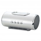 "1.7"" LED Portable Mini Rechargeable MP3 Music Speaker with FM/USB/AUX/TF - Silver"