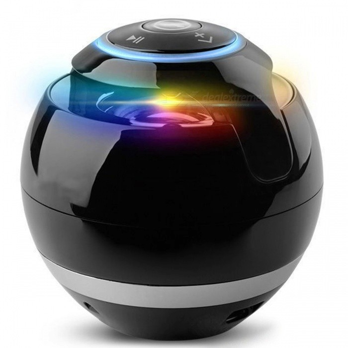 Round Shape Portable Mini Bluetooth Speaker with Microphone - BlackBluetooth Speakers<br>Form  ColorBlackModelR-BP21MaterialPlasticQuantity1 pieceShade Of ColorBlackBluetooth HandsfreeYesBluetooth VersionBluetooth V2.0Operating Range10MTotal Power3 WChannels2.0Interface3.5mm,USB 2.0MicrophoneYesFrequency Response60Hz-23KHzApplicable ProductsUniversalRadio TunerYesSupports Card TypeMicroSD (TF)Max Extended Capacity32GBTalk Time3 hoursMusic Play Time3 hoursPacking List1 x Speaker1 x Audio Cable1 x USB Cable<br>