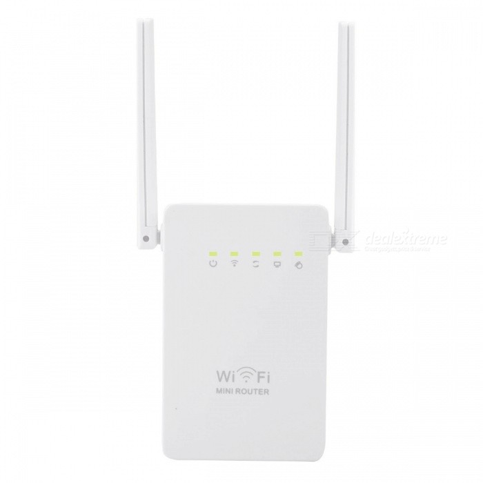 300Mbps Double Antenna Mini Wi-Fi Repeater (US Plug)Routers<br>Form  ColorUS PlugModelN/AQuantity1 pieceMaterialABSShade Of ColorWhiteTypeRouterTransmission Rate300 MbpsNetwork ProtocolsIEEE 802.11n,IEEE 802.11b,IEEE 802.11gWireless Data Rates300MUI LanguageEnglishSupport DD-WRTNoPacking List1 x Wireless-N Rounter1 x RJ45 Networking Cable1 x User manual<br>