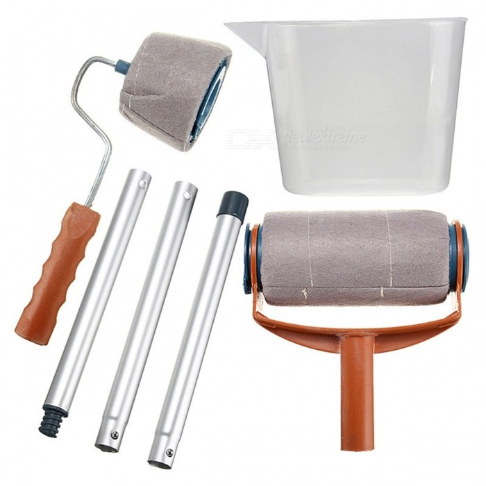 Decorative Paint Roller Brush, Household Wall Paint Tool SetOther Tools<br>Form  ColorBrown + SilverQuantity1 DX.PCM.Model.AttributeModel.UnitMaterialPolypropylene, aluminum rod, high density blanket clothPacking List1 x Paint Roller1 x Flocked Edger1 x Easy-Pour Jug3 x Extended Poles<br>
