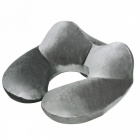 U-Shape Inflatable Travel Neck Pillow for Airplane - Grey