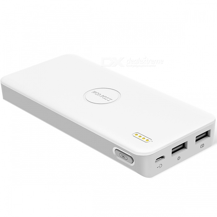 ROMOSS Polymos10 Air 10000mAh Power Bank - WhiteMobile Power<br>Form  ColorWhiteModelPolymos10 airQuantity1 pieceMaterialPlasticShade Of ColorWhiteCompatible ModelsOthers,UniversalCompatible TypeUniversalBattery TypeLi-ion batteryBuilt-in Battery ModelOthers,Lithium ion batteriesVoltage5 VCapacity Range9001mAh~10000mAhNominal Capacity10000 mAhInput2.1AOutput interface, output current, output voltage1A+2.1AFeaturesLED Indicator,Others,Ultra-thinPacking List1 x Mobile power1 x Chinese users manual1 x USB Cable<br>