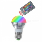 E27 3W RGB Lamp LED Bulbs / IR Remote Controllerl -White + Silver