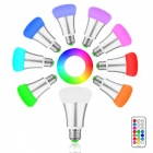 E27 10W RGB + Cool White LED Bulb Light w/ Remote Controller - Silver