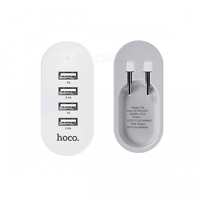 HOCO C19 5V 4.8A Universal 4 Ports USB Charger Folding - US PlugAC Chargers<br>Form  ColorUS PlugModelC19MaterialABS+PCQuantity1 pieceCompatible ModelsMobile phones, tablet PC etc.Input Voltage5 VOutput CurrentTotal output 4.8A, USB1/3:5V/1A, USB2/4:5V/2.4A. AOutput Voltage5 VPower AdapterUS PlugLED IndicatorYesCertificationC-Tick,CE,RoHSPacking List1 x charger<br>