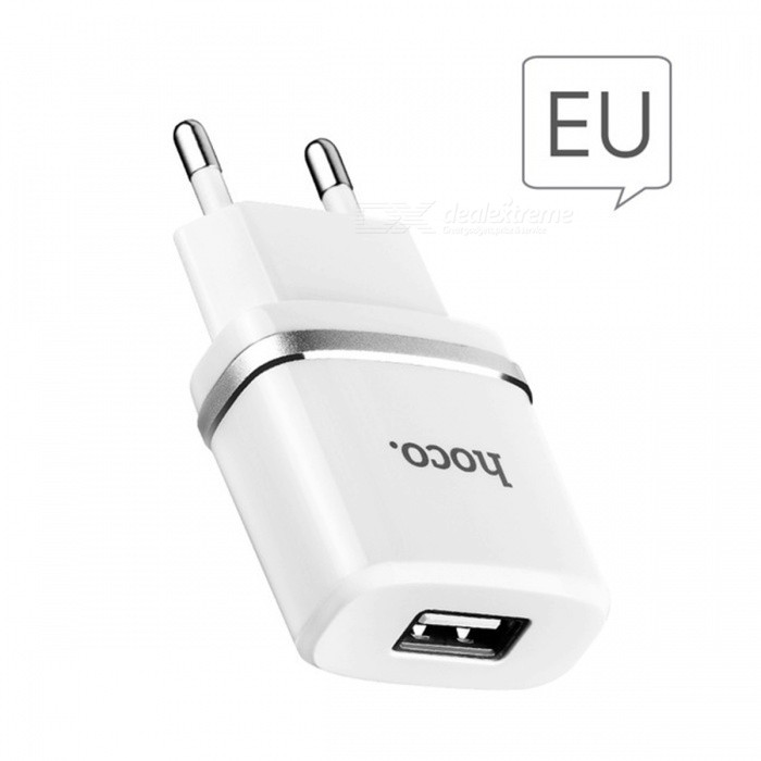 HOCO C11 5V 1.0A Universal EU Plug Charger with Lightning Cable -WhiteAC Chargers<br>Form  ColorWith Lightning Cable ModelC11MaterialABS + PCQuantity1 setCompatible ModelsIPHONEInput VoltageAC100-240 VOutput Current1 AOutput Voltage5 VPower AdapterEU PlugCertificationCE,FCC,RoHSPacking List1 x AC charger (EU Plug)1 x Lightning cable<br>