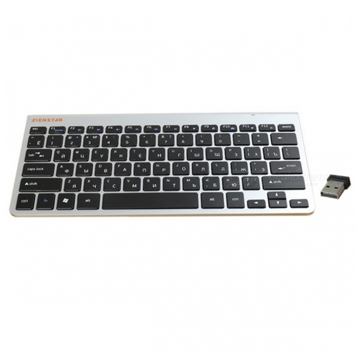 Russian Letter Ultra Slim 2.4G Wireless Keyboard - Black, SilverWireless Keyboards<br>Form  ColorBlack + SilverMaterialABSQuantity1 pieceInterfaceUSB 2.0Wireless or Wired2.4G WirelessBluetooth VersionOthers,BluetoothCompatible BrandOthers,MACBOOK, Laptop, TV Box, Computer PC, Smart TVTracking MethodOthers,N/ABack-litNoPowered ByAAA BatteryBattery included or notNoCharging TimeN/A hourBattery Number2WaterproofNoSupports SystemOthers,N/APacking List1 x Wireless Keyboard1 x 2.4G Receiver<br>