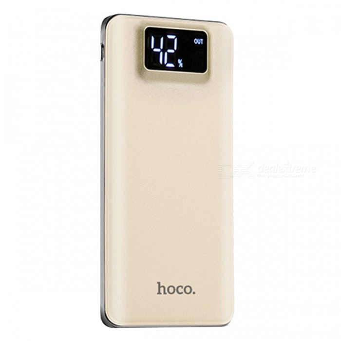 HOCO V130 10000mAh Dual USB Power Bank with LCD Display - GoldenMobile Power<br>Form  ColorGoldenModelV130Quantity1 setMaterialABSShade Of ColorGoldCompatible ModelsOthers,UniversalCompatible TypeUniversalBattery TypeLi-polymer batteryBuilt-in Battery ModelOthers,Li-polymer  batteryVoltage5 VCapacity Range9001mAh~10000mAhNominal Capacity10000 mAhBattery Measured Capacity N/A mAhInputDC 5V / 1.5A ( max )Output interface, output current, output voltageDC 5V / 1A, 2.1A ( max )Charging TimeN/A hourWorking TimeN/A hourFeaturesLED Indicator,LCD Capacity DisplayCertificationFCC,RoHS,CEPacking List1 x Power Bank1 x USB cable<br>