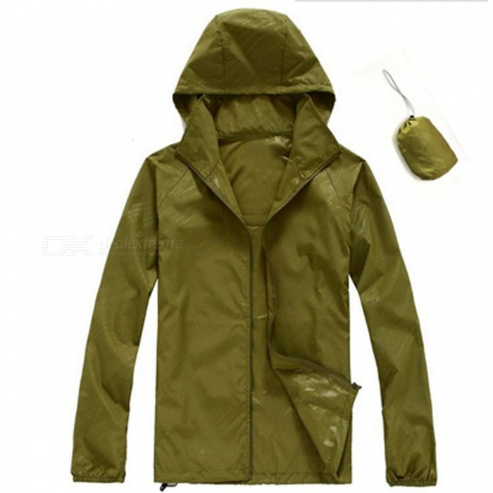 Unisex Quick Dry Waterproof Anti-UV Coat Jacket - Army GreenForm  ColorArmy GreenSizeXXLQuantity1 pieceMaterialPolyesterShade Of ColorGreenSeasonsSpring and SummerGenderMensShoulder Width58 cmChest Girth120 cmSleeve Length77 cmTotal Length66 cmSuitable for Height180 cmBest UseRunning,Camping,Mountaineering,Travel,Cycling,FishingSuitable forAdultsPacking List1 x Jacket<br>