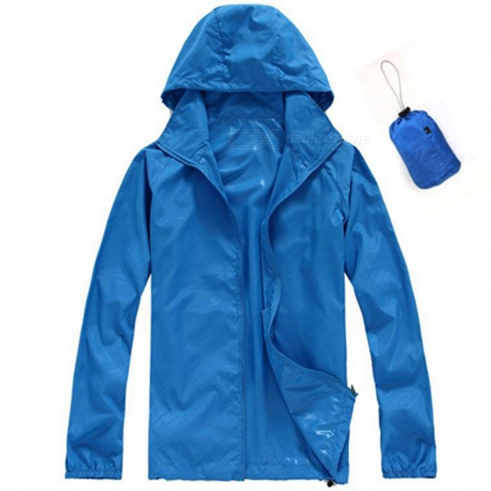 Unisex Quick Dry Waterproof Anti-UV Coat Jacket - BlueForm  ColorBlueSizeXXXLQuantity1 DX.PCM.Model.AttributeModel.UnitMaterialPolyesterShade Of ColorBlueSeasonsSpring and SummerGenderMensShoulder Width60 DX.PCM.Model.AttributeModel.UnitChest Girth124 DX.PCM.Model.AttributeModel.UnitSleeve Length79 DX.PCM.Model.AttributeModel.UnitTotal Length70 DX.PCM.Model.AttributeModel.UnitSuitable for Height185 DX.PCM.Model.AttributeModel.UnitBest UseRunning,Camping,Mountaineering,Travel,Cycling,FishingSuitable forAdultsPacking List1 x Jacket<br>