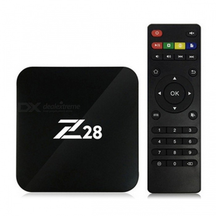 Z28 Android 7.1 RK3328 Quad-Core 64Bit Smart TV Box - Black (EU Plug)Smart TV Players<br>Form  ColorBlackBuilt-in Memory / RAM1GBStorage8GBPower AdapterEU PlugModelZ28Quantity1 pieceMaterialPlasticShade Of ColorBlackOperating SystemOthers,Android 7.1ChipsetRockchip RK3328 Quad-Core 64Bit ARM Cortex-A53,up to 1.5GHzCPUCortex-A5Processor FrequencyRockchip RK3328 Quad Core 64Bit ARM Cortex-A53,up to 1.5GHzGPUMali-450MP2Menu LanguageEnglish,Others,Multi-languageRAM/Memory TypeDDR3 SDRAMMax Extended Capacity64GBSupports Card TypeMicroSD (TF)Wi-FiIEEE802.11 b/g/n/, 2.4G Wi-Fi. And support WiFi Hotspot, could be as a wireless routerBluetooth VersionNo3G FunctionNoWireless Keyboard/Mouse2.4GAudio FormatsOthers,MP3 / WMA / APE / FLAC / AAC / OGG / AC3 / WAVVideo FormatsOthers,/Audio CodecsOthers,MP3 / WMA / APE / FLAC / AAC / OGG / AC3 / WAVVideo CodecsOthers,Full video format decoding support. Support H.265 hardware decoding. Support format MPEG-1, MPEG-2, MPEG-4,H.263, H.264, AVS, VC-1,RV, VP6/VP8/VP9, Sorenson Spark, MVC 3840*2160 60FPS.( H.264 /H.265 Data Rate: Up to 60Mbps)Picture FormatsOthers,JPG, JPEGBMP, GIF, PNG, JFIFSubtitle FormatsOthers,/Output Resolution4K,N/A3DHigh-performance OpenGL ES1.1 and 2.0, OpenVG1.1, etc.HDMI2.0Audio Output/Video OutputHDMIUSBUSB 2.0Other InterfaceInput Port: USB 2.0 / TF Card Slot / RJ45 / Power Input. <br>Output Port: HD 2.0 / SPDIF port.Power SupplyInput: AC 100~240V 50/60Hz, Output: DC 5V/2APacking List1 x Z28 Smart Android TV Box      1 x Remote Control1 x HDMI Cable   1 x Power Adapter<br>