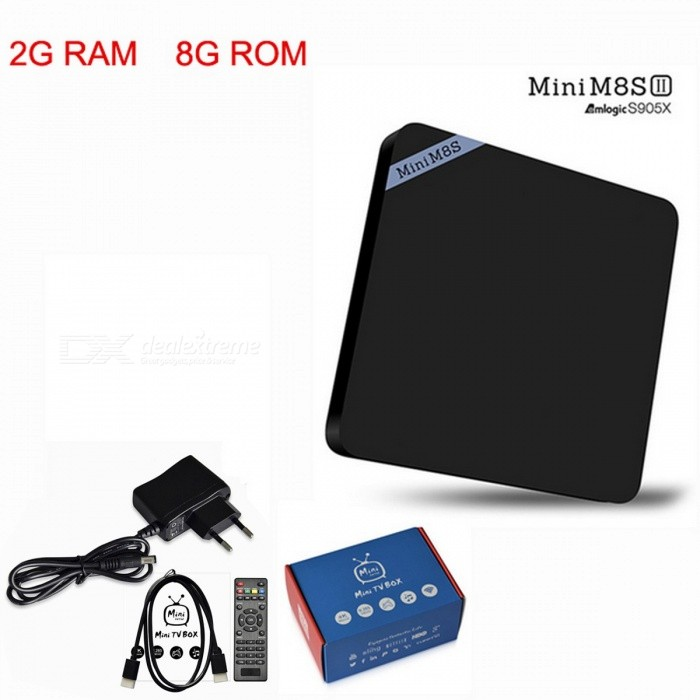 Mini M8S II Android 6.0 Quad-Core Smart TV Box - Black (EU Plug)Smart TV Players<br>Form  ColorBlackBuilt-in Memory / RAM2GBStorage8GBPower AdapterEU PlugModelMini M8S IIQuantity1 pieceMaterialPlasticShade Of ColorBlackOperating SystemAndroid 6.0ChipsetAmlogic S905XCPUOthers,Amlogic S905XProcessor FrequencyAmlogic S905XGPUMali-450Menu LanguageEnglish,Others,Multi-languageRAM/Memory TypeDDR3 SDRAMMax Extended Capacity32GBSupports Card TypeMicroSD (TF)Wi-FiIEEE 802.11b / g / nBluetooth VersionBluetooth V4.03G FunctionNoWireless Keyboard/Mouse2.4GHzAudio FormatsOthers,AAC,FLAC,MP3,MPEG,OGG,RM,WMAVideo FormatsOthers,1080P,4K,4K x 2K,AVC,AVI,DAT,H.264,H.265,ISO,MKV,MP4,MPEG-1,MPEG-4,MPEG1,MPEG2,MVC,WMVAudio CodecsOthers,AAC,FLAC,MP3,MPEG,OGG,RM,WMAVideo CodecsOthers,H.264/AVC,H.265,RealVideo8/9/10Picture FormatsOthers,BMP,GIF,JPEG,JPGSubtitle FormatsOthers,/Output Resolution4KHDMI2.0Video OutputHDMIUSBUSB 2.0Other InterfaceDC Power Port,HDMI,Micro SD Card Slot,RJ45,SPDIF,USB2.0Power Supply100-240VPacking List1 x Mini M8S II TV Box1 x IR Remote Control1 x HDMI Cable1 x Power Adapter1 x English Manual<br>
