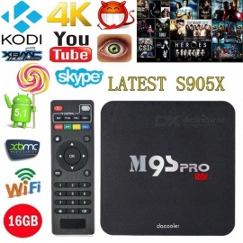 M9S PRO Android Amlogic S905X Quad-Core Smart TV Box - Black (US Plug)