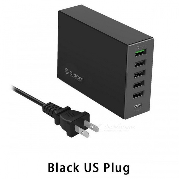 ORICO 6-Ports 5V2.4A 9V2A 12V1.5A Type-C QC2.0 Quick Charger - BlackUSB Hubs &amp; Switches<br>Form  ColorBlack (US Plug)Quantity1 pieceMaterialPC + ABS (Fire-resistant)Shade Of ColorBlackIndicator LightNoPort Number6With Switch ControlNoInterfaceUSB 2.0,Others,TYPE-C,QC2.0Transmission RateOthers,N/A bpsPowered ByAC ChargerSupports SystemOthers,N/APacking List1 x QC2.0+TYPE-C Charger1 x Power Cord1 x Manual<br>