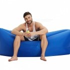 Inflatable Air Camping Sleeping Bag Sofa with Side Pocket - Blue