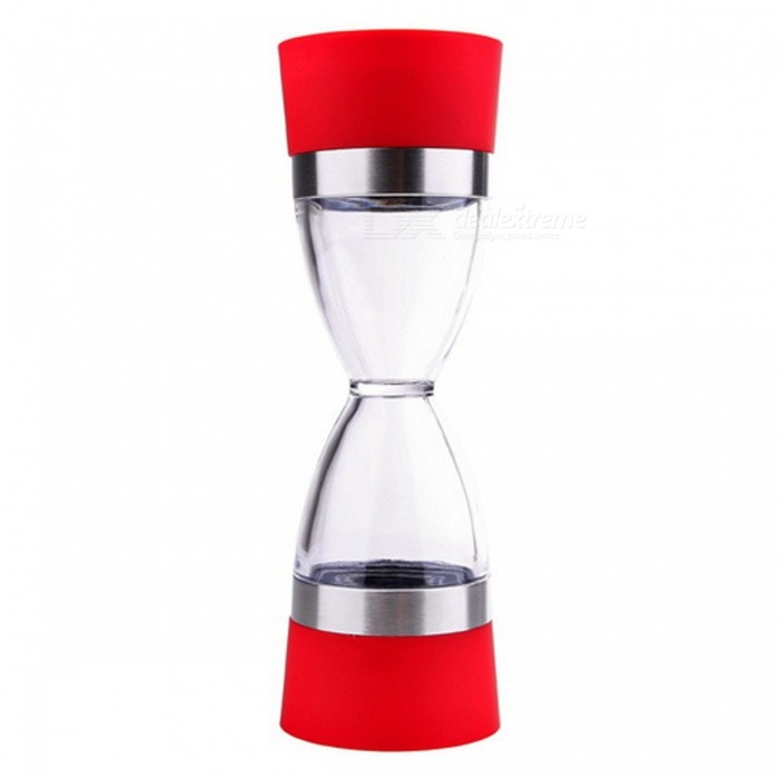 18cm Hourglass Shape Dual Salt Pepper Mill, Spice Grinder - RedKitchen Gadgets<br>Form  ColorRedMaterialPlastic + Stainless SteelQuantity1 piecePacking List1 x Grinder<br>