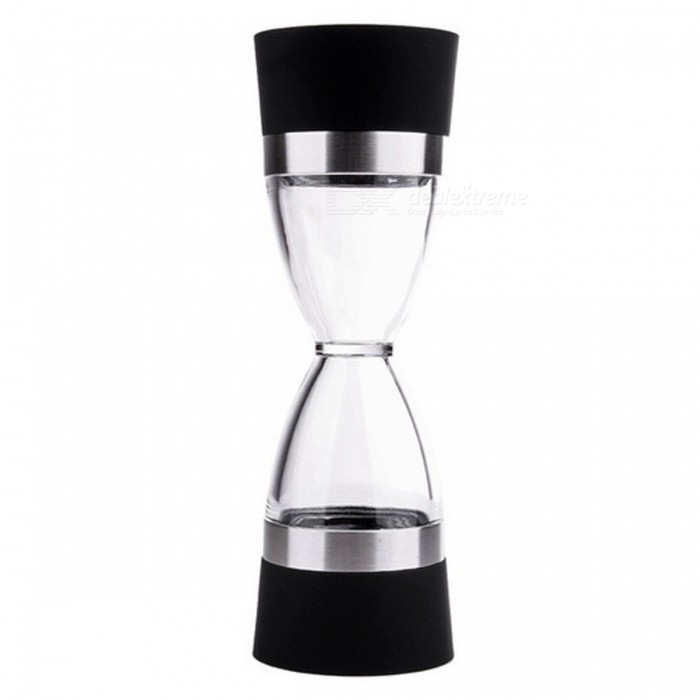 18cm Hourglass Shape Dual Salt Pepper Mill, Spice Grinder - BlackKitchen Gadgets<br>Form  ColorBlackMaterialPlastic + Stainless SteelQuantity1 piecePacking List1 x Grinder<br>