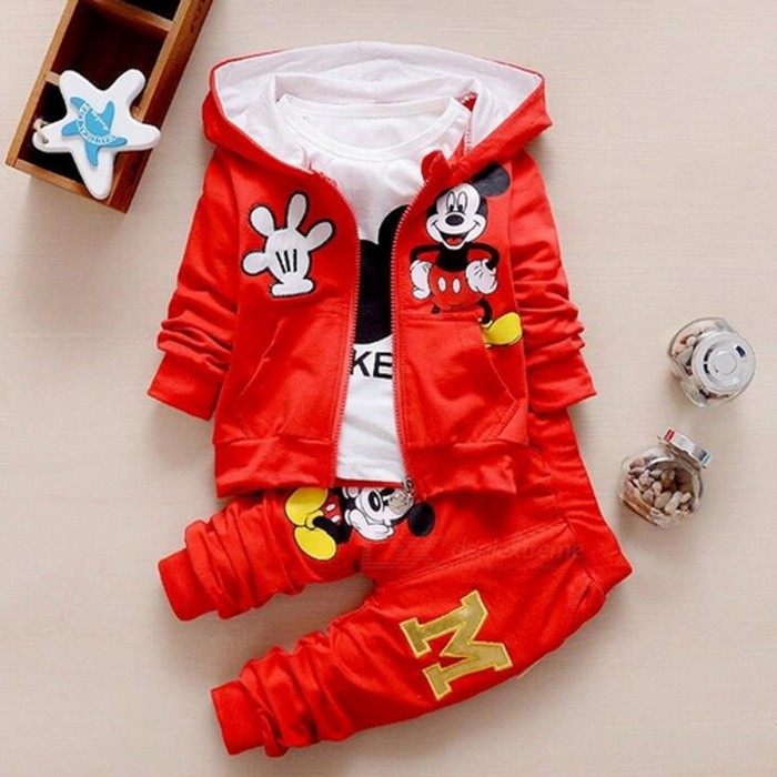 Autumn Baby Girls  Boys Clothes Sets Cute Infant - Red / 10-12 MonthsBaby Apparel<br>Form  ColorWhite + Red + Multi-ColoredSutiable Age10-12 monthsShade Of ColorRedMaterialCottonQuantity1 setStyleFashionHip GirthN/A cmCrotch LengthN/A cmTotal LengthN/A cmPacking List1 x Coat + T Shirt + Pants<br>