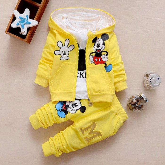 Autumn Baby Girls Boys Clothes Sets Cute Infant - Yellow / 4-6 MonthsBaby Apparel<br>Form  ColorWhite + Yellow + Multi-ColoredSutiable Age4-6 monthsShade Of ColorYellowMaterialCottonQuantity1 setStyleFashionHip GirthN/A cmCrotch LengthN/A cmTotal LengthN/A cmPacking List1*Coat+T Shirt+Pants<br>
