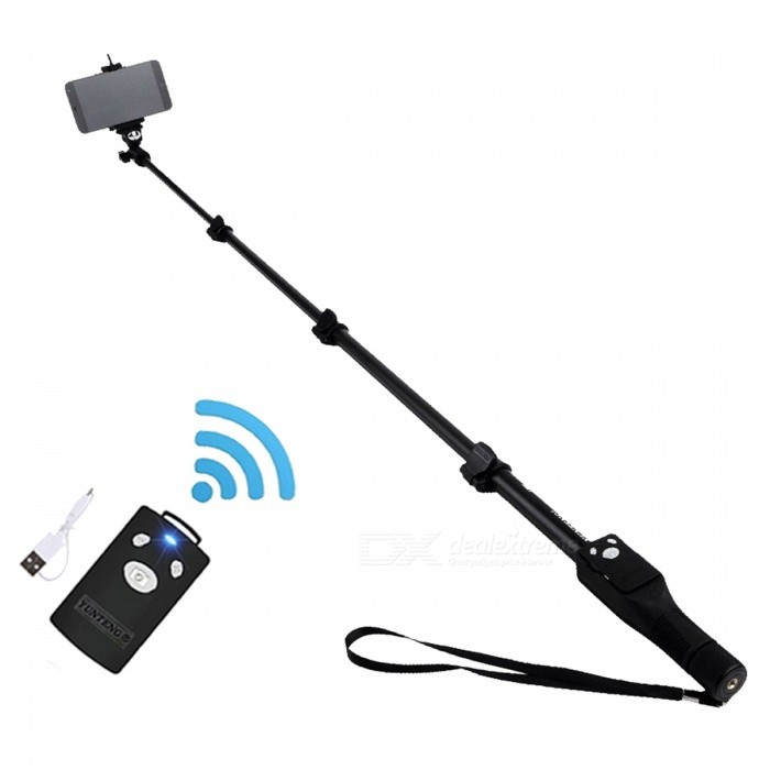 Yunteng 1288 Bluetooth Extendable Handheld Yt-1288 Tripod MonopodTripods and Holders<br>Form  ColorBlackModelYT-1288MaterialAluminumQuantity1 pieceShade Of ColorBlackTypeMonopodRetractableNoFolded Size42.5 cmFull Size 125 cmPacking List1 x Extendable Monopod 1 x Bluetooth Remote Shutter for Phone with a usb charging cable (No Battery)1 x Phone Holder<br>