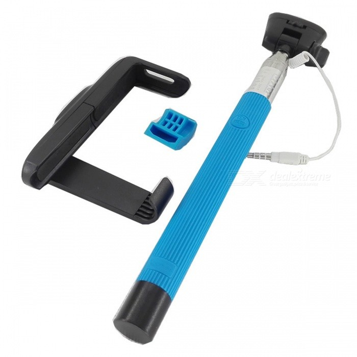 z07 7 audio cable wired selfie stick extendable monopod blue free shipping dealextreme. Black Bedroom Furniture Sets. Home Design Ideas