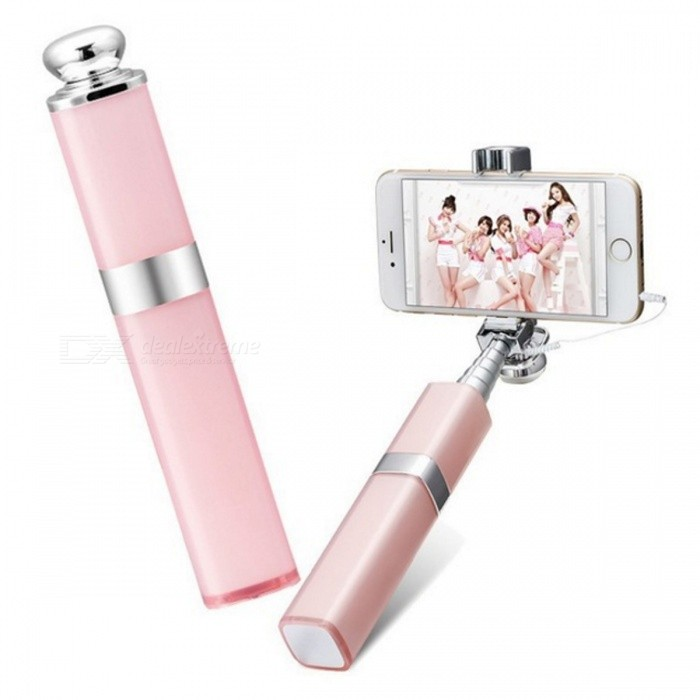 Fashion Lipstick Nude Design Wired Monopod Selfie Stick - PinkTripods and Holders<br>Form  ColorPinkMaterialAluminumQuantity1 pieceShade Of ColorPinkTypeMonopodRetractableYesFolded Size16.5 cmFull Size 68 cmPacking List1 x Selfie Stick<br>