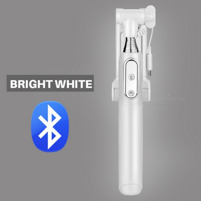 Bluetooth Selfie Stick Monopod with LED Light Rear Mirror - WhiteTripods and Holders<br>Form  ColorWhiteMaterialAluminumQuantity1 pieceShade Of ColorWhiteTypeMonopodRetractableYesFolded Size18.5 cmFull Size 88 cmPacking List1 x Selfie Stick 1 x Charging Cable 1 x User Manual 1 x Waterproof Bag1 x Hanging Rope1 x Safety Rope<br>