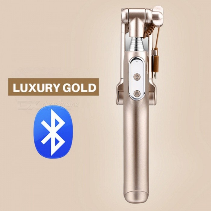 Bluetooth Selfie Stick Monopod with LED Light Rear Mirror - GoldenTripods and Holders<br>Form  ColorGoldenMaterialAluminumQuantity1 pieceShade Of ColorGoldTypeMonopodRetractableYesFolded Size18.5 cmFull Size 88 cmPacking List1 x Selfie Stick 1 x Charging Cable 1 x User Manual 1 x Waterproof Bag1 x Hanging Rope1 x Safety Rope<br>