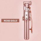 AUX Wired Selfie Stickmonopod med LED-ljus bakre spegel - Rose Gold