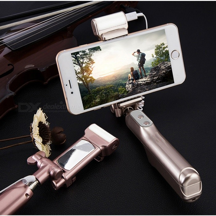 aux wired selfie stick monopod with led light rear mirror rose gold free shipping dealextreme. Black Bedroom Furniture Sets. Home Design Ideas